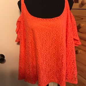 JESSICA SIMPSON cold shoulder ruffled lace blouse